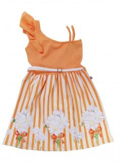 Vestido Infantil Listrado com Flores - Big Day
