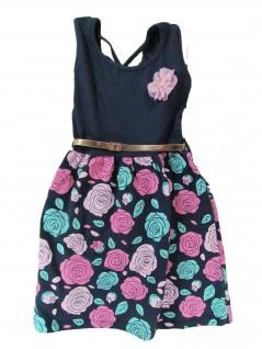 Vestido Infantil Rosas com Cinto - Big Day