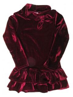 Vestido Infantil em Veludo Molhado Vinho - Minore