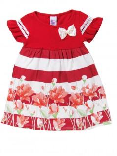 Vestido Infantil Barrado Flores Vermelho - Big Day